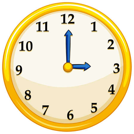 Illustrazione per Yellow round clock with blue needles illustration - Immagini Royalty Free
