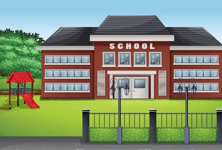 Photo pour School building and green lawn illustration - image libre de droit