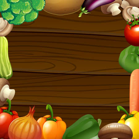 Vegetables border on wooden frame illustration