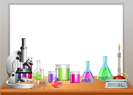 Illustration pour Chemistry equipment on table illustration - image libre de droit