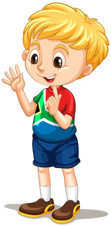 Illustration pour South African boy counting with fingers illustration - image libre de droit
