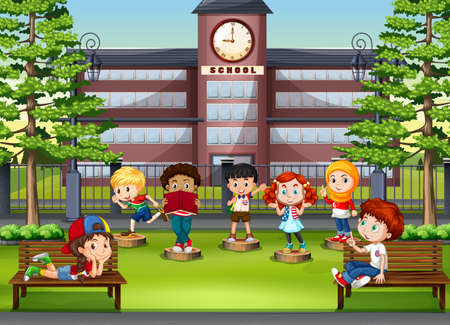 Photo for Children at the park in front of school illustration - Royalty Free Image