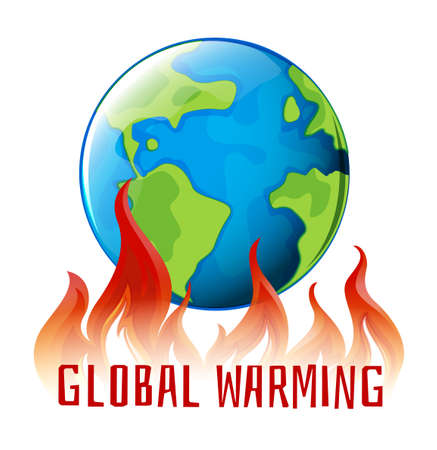 Illustration pour Global warming sign with earth on fire illustration - image libre de droit