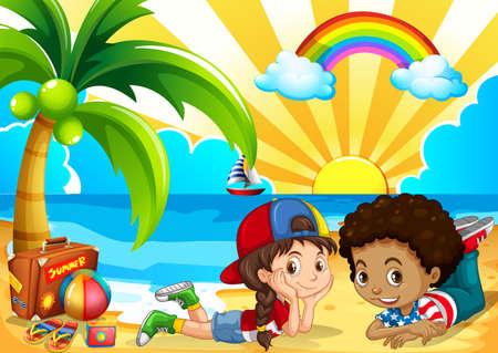 Ilustración de Children having fun on the beach illustration - Imagen libre de derechos