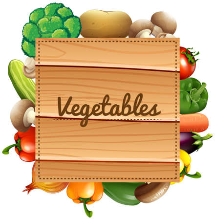 Border design with fresh vegetables illustration