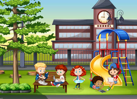 Illustration for Children playing in the school playground illustration - Royalty Free Image
