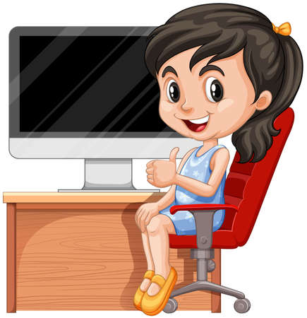 Illustration pour Girl sitting on chair by the computer illustration - image libre de droit