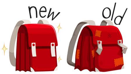 Illustration pour Schoolbag new and old illustration - image libre de droit