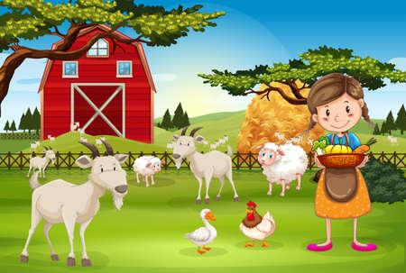 Ilustración de Farmer working on the farm with animals illustration - Imagen libre de derechos