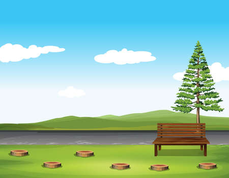Illustration for Public park with tree and bench illustration - Royalty Free Image