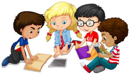 Illustrazione per Group of children doing homework illustration - Immagini Royalty Free