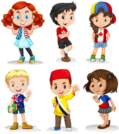 Illustrazione per Boys and girls from different countries illustration - Immagini Royalty Free