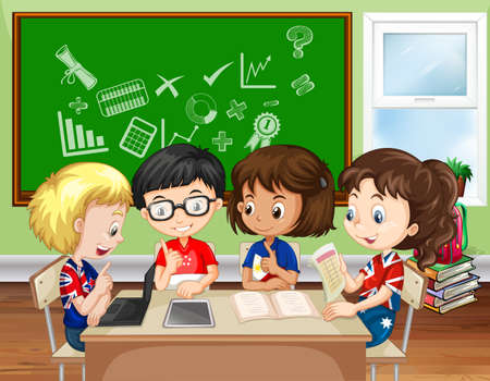 Illustration pour Children working in group in the classroom illustration - image libre de droit