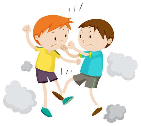 Illustration pour Two boy fighting each other illustration - image libre de droit