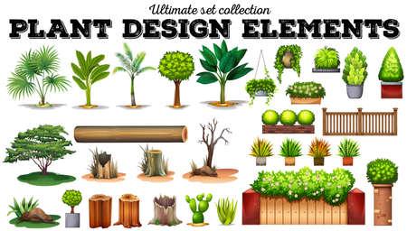 Ilustración de Many kind of plants illustration - Imagen libre de derechos