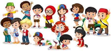 Illustration pour Group of international children illustration - image libre de droit