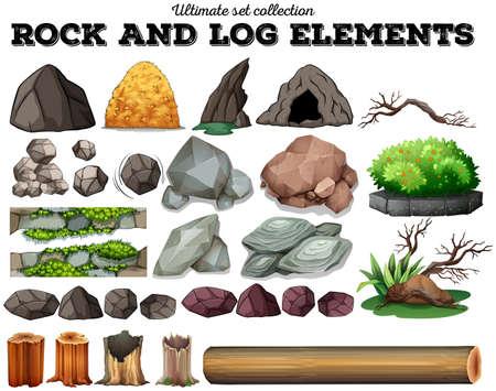 Illustration pour Rock and log elements illustration - image libre de droit