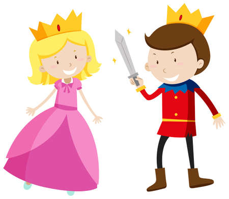 Illustration for Prince and princess looking happy illustration - Royalty Free Image