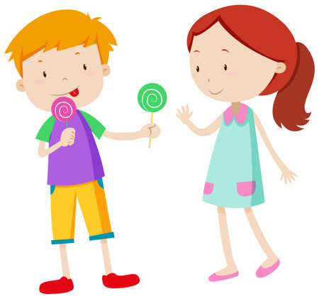 Illustration pour Boy sharing candy with the girl illustration - image libre de droit