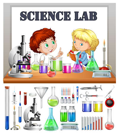 Illustration pour Children working in the science lab illustration - image libre de droit
