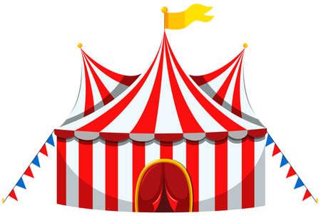 Ilustración de Circus tent in red and white striped illustration - Imagen libre de derechos