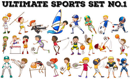 Boys and girls doing different sports illustration