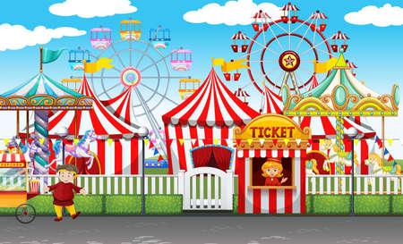 Illustration pour Carnival with many rides and shops illustration - image libre de droit