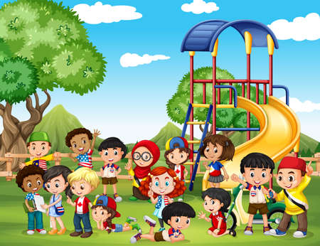 Illustration for Children playing in the park illustration - Royalty Free Image