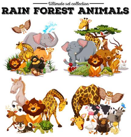 Illustration pour Different kind of rainforest animals illustration - image libre de droit