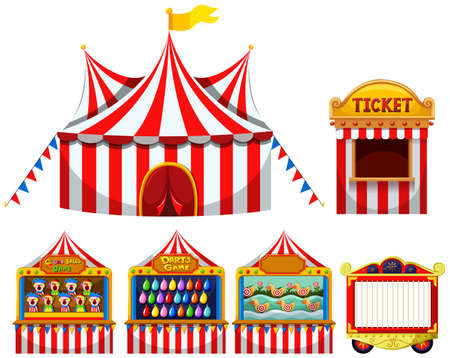 Illustration pour Circus tent and game boothes illustration - image libre de droit
