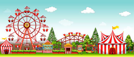Illustration pour Amusement park at daytime illustration - image libre de droit