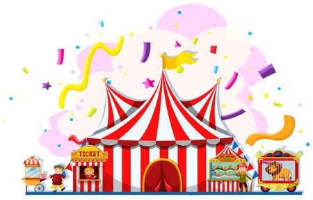 Illustration pour People working at the carnival illustration - image libre de droit