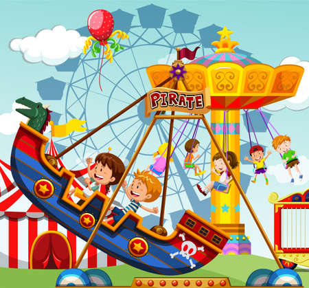 Illustration pour Children riding on rides at the funfair illustration - image libre de droit