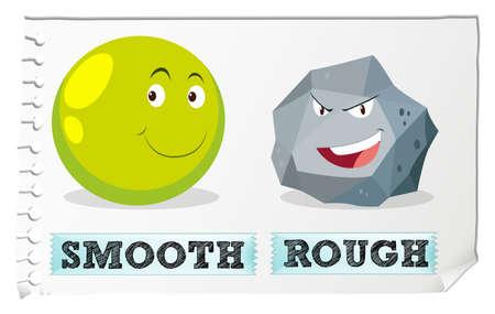 Ilustración de Opposite adjectives with smooth and rough illustration - Imagen libre de derechos