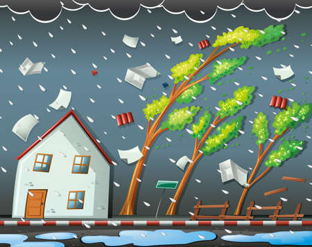 Illustration pour Natural disaster scene with hurricane illustration - image libre de droit