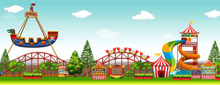 Illustration pour Amusement park scene with rides illustration - image libre de droit