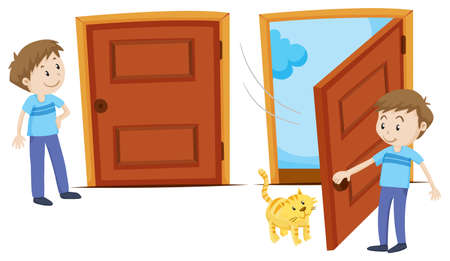 Illustration for Door closed and door opened illustration - Royalty Free Image