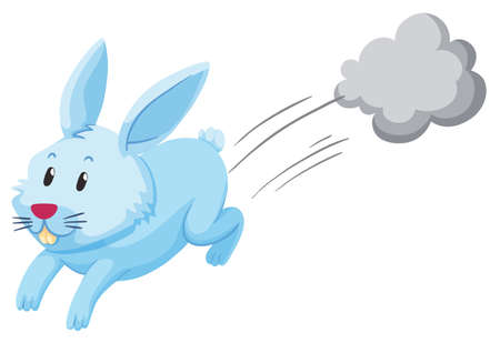Illustration pour Cute rabbit running alone illustration - image libre de droit