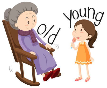 Foto de Old woman and young girl illustration - Imagen libre de derechos