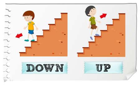 Ilustración de Opposite adjectives down and up illustration - Imagen libre de derechos