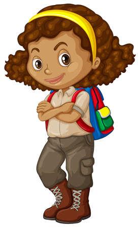 Ilustración de African american girl with backpack illustration - Imagen libre de derechos