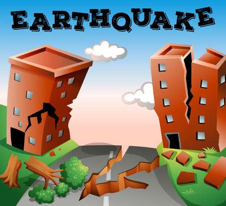 Illustration for Natural disaster scene of earthquake illustration - Royalty Free Image