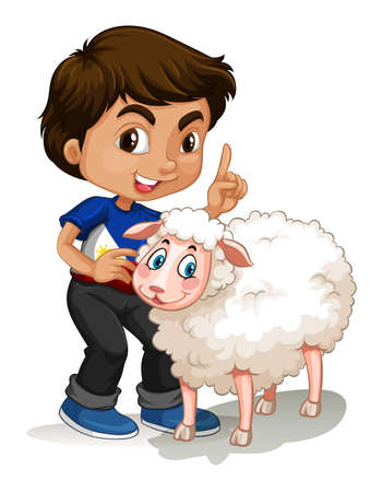 Little boy and sheep illustration