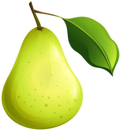 Ilustración de Green pear with leaf illustration - Imagen libre de derechos