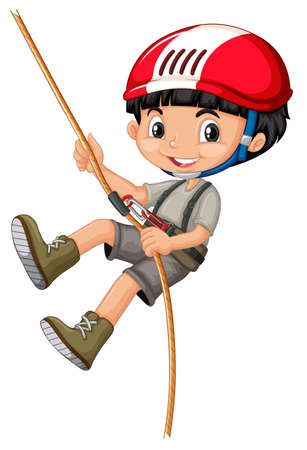 Boy in climbing gears holding a rope illustration