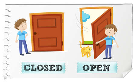 Illustration for Opposite adjectives closed and open illustration - Royalty Free Image