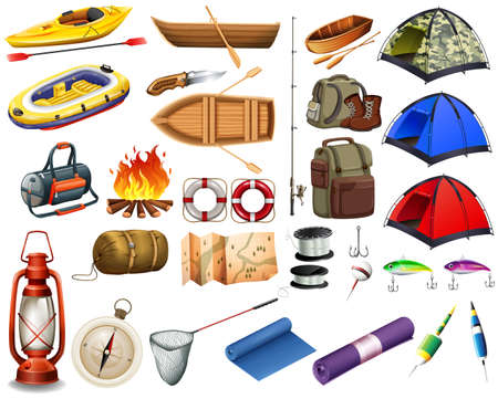 Illustration pour Camping gears and boats illustration - image libre de droit