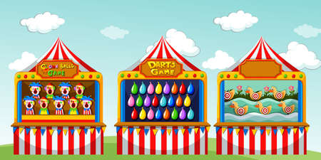Illustration pour Three game boothes at the circus illustration - image libre de droit