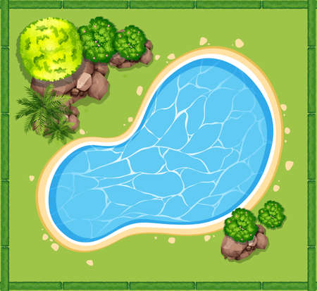 Illustration pour Top view of swimming pool in the garden illustration - image libre de droit