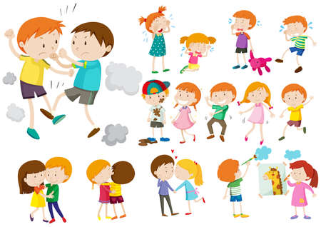 Illustration pour Boys and girls in different actions illustration - image libre de droit